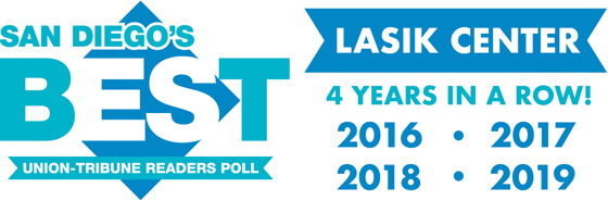 Voted San Diego's Best Union-Tribune Readers Poll LASIK Center 4 Years in a Row 2016 2017 2018 and 2019